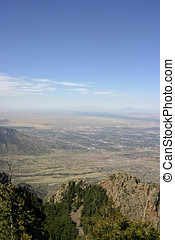 Aerial View of Albuquerque, New Mexico - View overlooking...