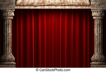 red velvet curtains behind the stone columns made in 3d