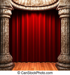 red velvet curtains behind the stone columns