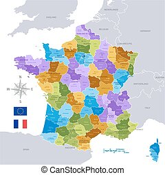 francja, administracyjny, mapa,