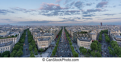 Skyline of Paris with Champs-Elysees at sunset - Wide angle...