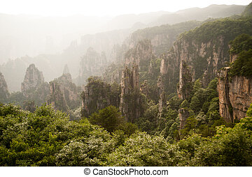 Mysterious mountains Zhangjiajie - Mysterious mountains in...