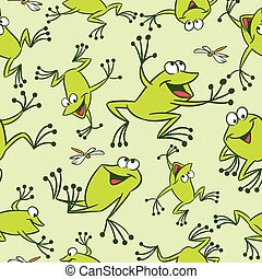 pattern with funny frogs - The illustration shows seamless...