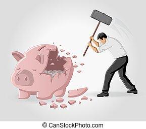 Business man breaking piggy bank