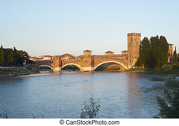 Castelvecchio bridge - Bridge of Castelvecchio castle, over...