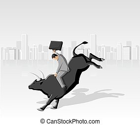 Cowboy business man riding a bull