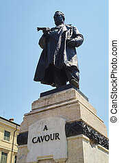 Cavour - Low angle shot of statue of Cavour in Verona,...