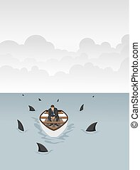 surrounded by sharks - Business man on a boat surrounded by...