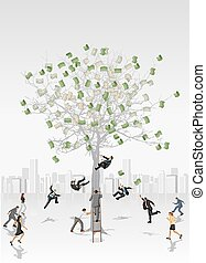 Money tree with business people