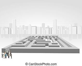people choosing on a maze