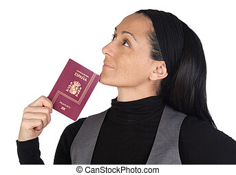Beautiful woman with a passport thinking isolated on white...