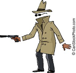 Invisible spy with a gun vector illustration