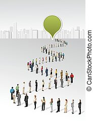 business people standing in a line - Template with a crowd...