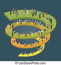 business people on spiral work flow - Template for...