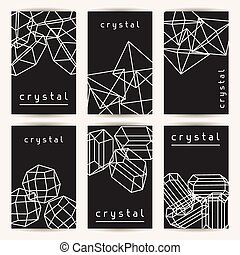 Set of business cards with geometric crystals and minerals.