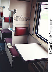Passenger train from the inside, seat for passengers near window