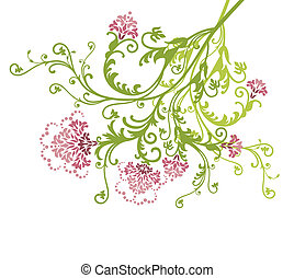 Pink vector flowers isolated