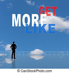 Get More Likes, message on the sky