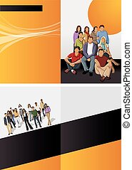 young people - Orange and black template for advertising...