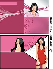 beautiful women - Pink template for advertising brochure...