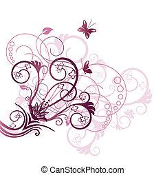 pourpre, floral, conception, coin, élément