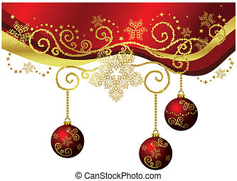 Red & gold Christmas border isolated - Red & gold Christmas...