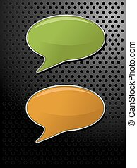Speech balloon icons on black background