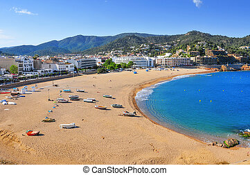 Platja Gran beach in Tossa de Mar, Spain - a panoramic view...