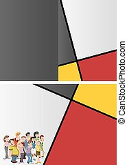 cartoon people - Red, yellow and black template for...