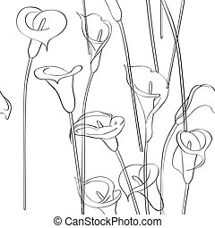 calla pattern - Calla asymmetrical sketch pattern,...