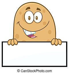 Smiling Potato Over A Blank Sign - Smiling Potato Cartoon...