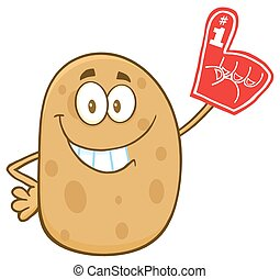 Happy Potato Cartoon Character Wearing A Foam Finger