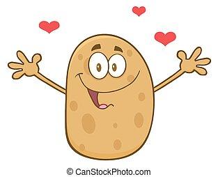 Happy Potato Character With Hearts - Happy Potato Cartoon...