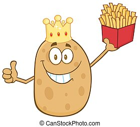 Smiling King Potato Character - Smiling King Potato Cartoon...