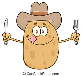 Cowboy Potato Cartoon Character With Knife And Fork