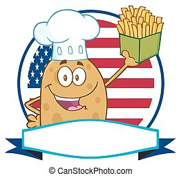 Chef Potato Over A Circle Banner - Chef Potato Cartoon...