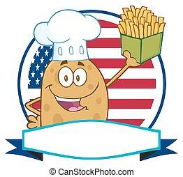 Chef Potato Over A Circle Banner