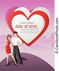 Cartoon young love couple with a big red heart