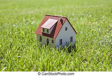 Little house on green grass