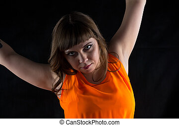 Photo of pudgy woman with hands up