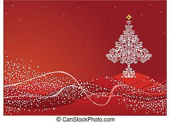 Detailed Christmas tree on red background 2