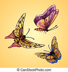three color butterflies