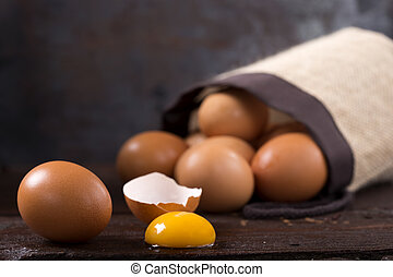 Eggs on wood - Some Eggs on a wooden background