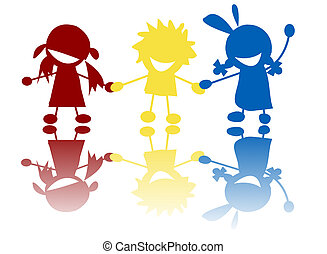 Happy kids - Silhouettes of children in colors and races...