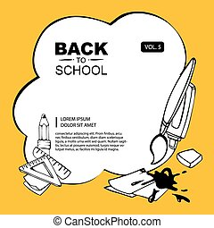 back to school - background concept pictrue with brush,...