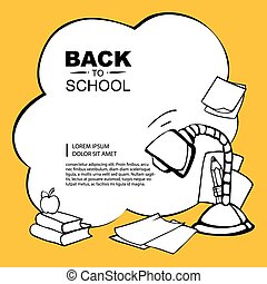 back to school - Line background pictrue with desk lamp,...