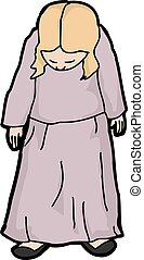 Woman Looking Down - Cartoon of single depressed female...