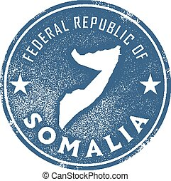 Somalia Country Stamp - Vintage style stamp featuring the...
