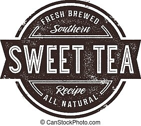 Vintage Sweet Tea Sign - Vintage style stamp design for...