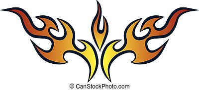 Stylish Hot Rod Flames - Vector flame design.